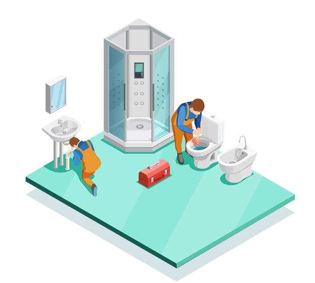 Fontaneros en baño moderno imagen isométrica