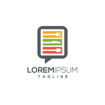 Food blog review restaurant menu plantilla de logotipo de concepto creativo