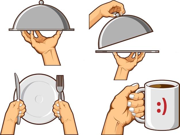 Food hand sign - bandeja para servir y taza para sostener