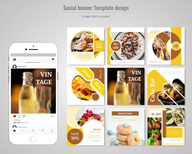Food social media post template para restaurante