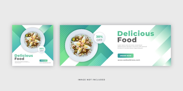 Food social media post web banner y plantilla de portada de facebook
