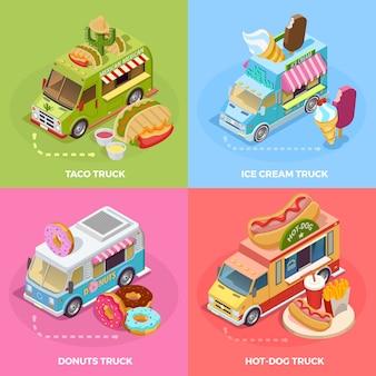 Food truck 4 iconos isométricos cuadrados