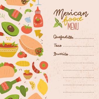 Food truck menú de comida mexicana. conjunto de elementos coloridos de comida mexicana dibujados a mano: burrito, taco, margarita, limón, cactus, tomate. comida dibujada a mano para menú de restaurante.