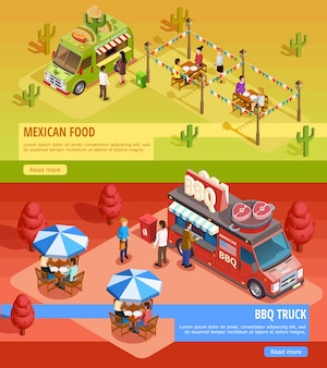 Food trucks 2 banners isométricos horizontales