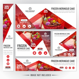 Food web banner set para restaurante