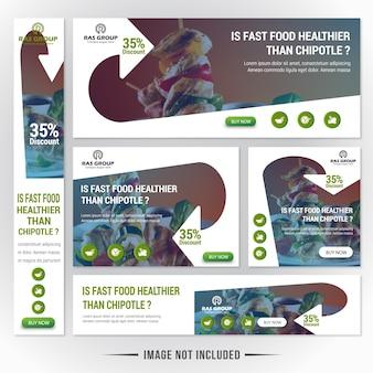 Food web banner set para restaurante