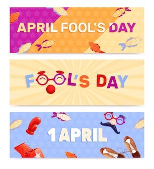 Fools day 1 de abril conjunto realista de tres banners horizontales.