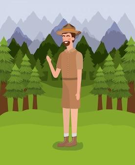 Forest ranger hombre de dibujos animados