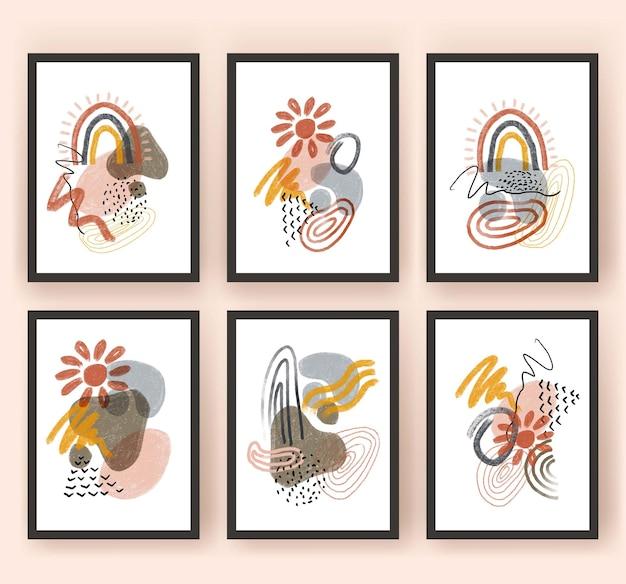 Forma abstracta, arco iris, sol, boho, moderno, minimalista clipart