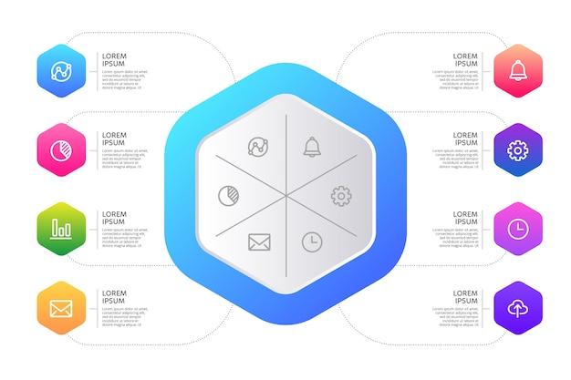 Forma abstracta gradiente de infografía