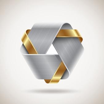 Forma abstracta de metal con elementos de acero y oro - ilustración