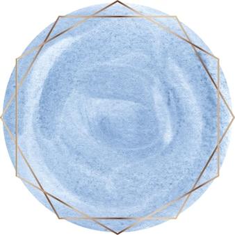 Forma de acuarela azul con marco de línea dorada