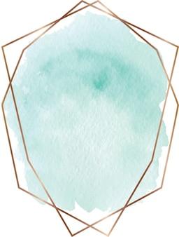 Forma de acuarela verde con marco de líneas geométricas doradas