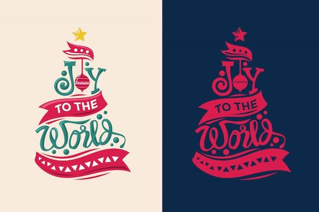 Forma de árbol de navidad con cita y letras únicas para tarjetas de felicitación y decoración