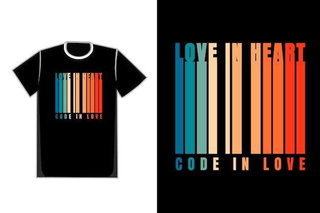 Forma de camiseta color título amor en código de corazón enamorado