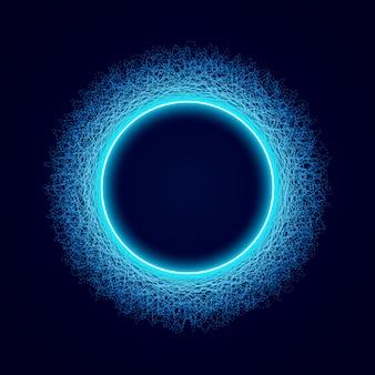 Forma circular de neón de forma soundwave.