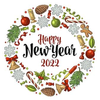 Forma de círculo para el año nuevo 2022. grabado en color de la vendimia del vector
