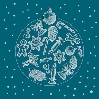 Forma de círculo para feliz navidad y año nuevo grabado en blanco vintage vector
