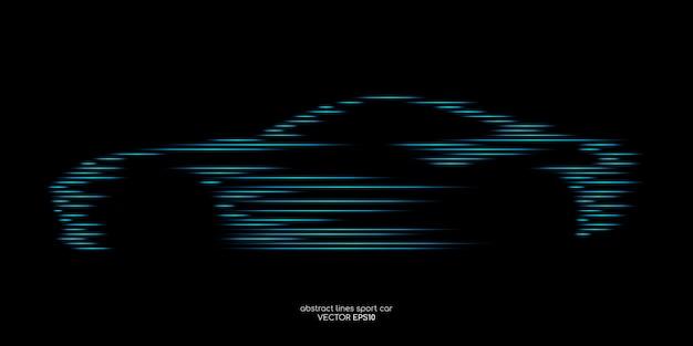 Forma de coche deportivo por patrón de línea de movimiento rápido azul verde sobre negro