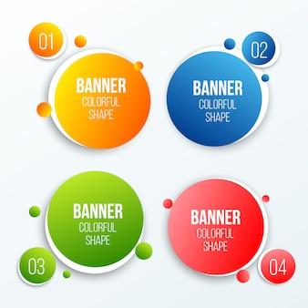 Forma colorida de los cuadros de texto del círculo, banderas redondas