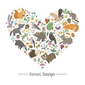 En forma de corazón con animales y elementos del bosque.