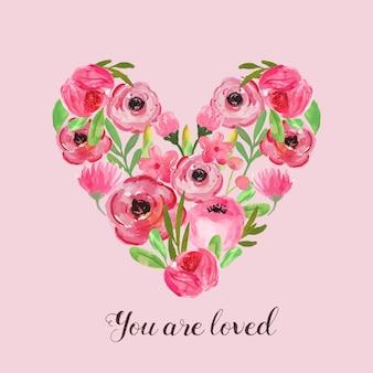 En forma de corazón con arreglo de flores de acuarela para boda, san valentín, invitación, tarjeta, logo.