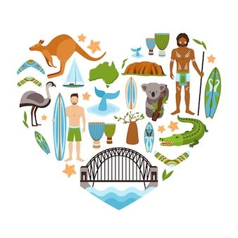 Forma de corazón de australia