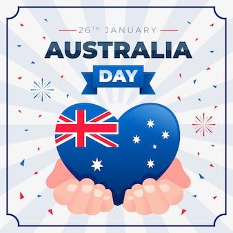 En forma de corazón con bandera australiana en manos