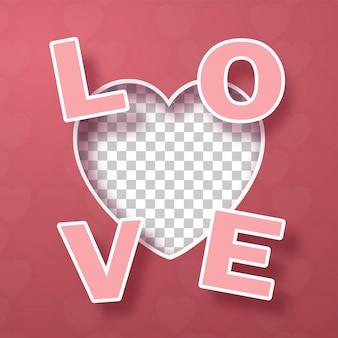 Forma de corazón en blanco con texto amor en rosa
