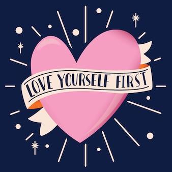 En forma de corazón con cinta y mensaje de amor con letras a mano. ilustración dibujada a mano colorida para el día de san valentín feliz. tarjeta de felicitación con elementos decorativos.