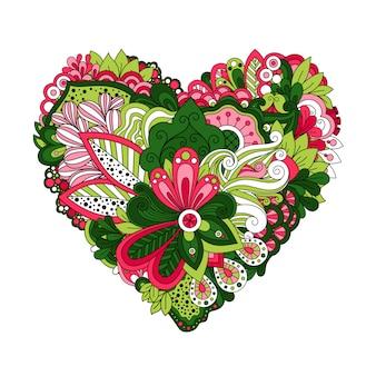 En forma de corazón floral con flores de verano de doodle dibujado a mano