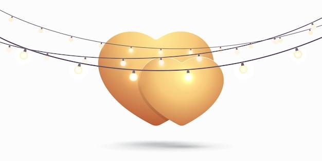 En forma de corazón con luces sobre fondo blanco. plantilla de san valentín