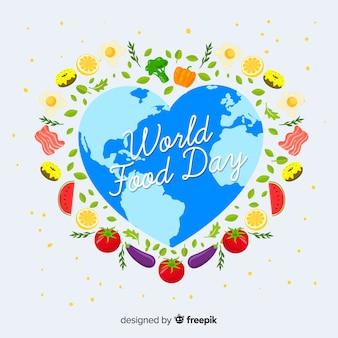 La forma del corazón del mundo para el día de la comida