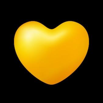 Forma de corazón de oro aislada sobre fondo negro, icono en forma de corazón de oro
