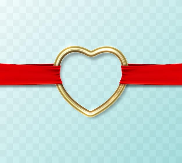 Forma de corazón de oro colgando de una cinta de tela de seda roja transversal.