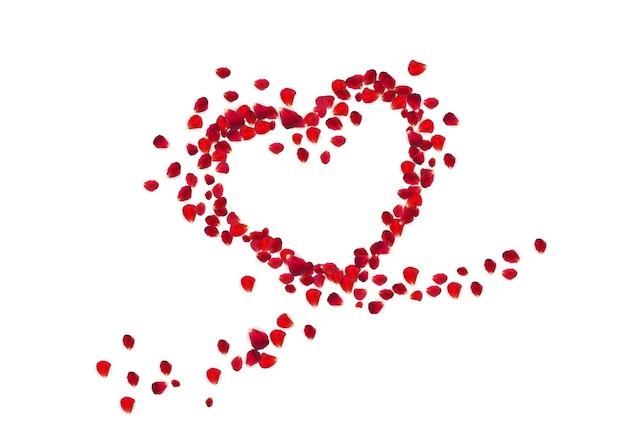 Forma de corazón con pétalos de rosa.