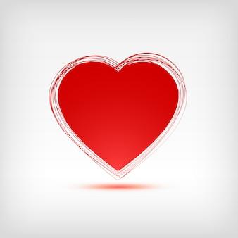 Forma de corazón rojo sobre fondo blanco. ilustración.