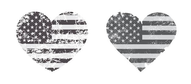 Forma de corazón vintage con bandera de estados unidos