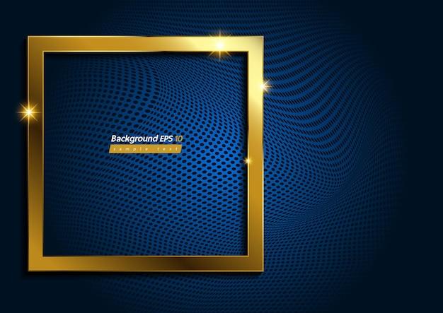 Forma cuadrada, oro de lujo moderno sobre fondo de punto azul