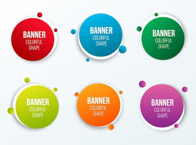 Forma de cuadros de texto círculo colorido, pancartas redondas.