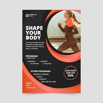Forma de cuerpo de estilo póster deportivo