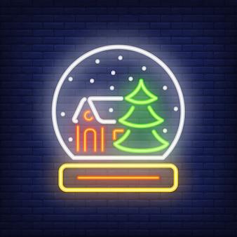 Forma de pisapapeles de neón. elemento festivo concepto de navidad para la noche brillante anuncio