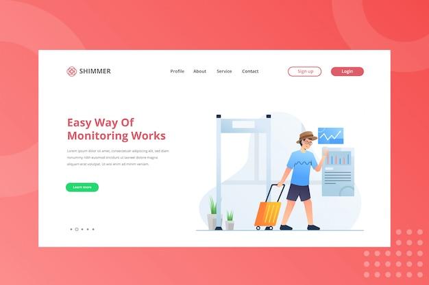 Una forma fácil de monitorear la ilustración de trabajos para trabajar desde el concepto de hogar en la página de inicio