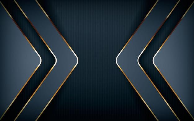 Forma de flecha moderna con línea dorada clara.