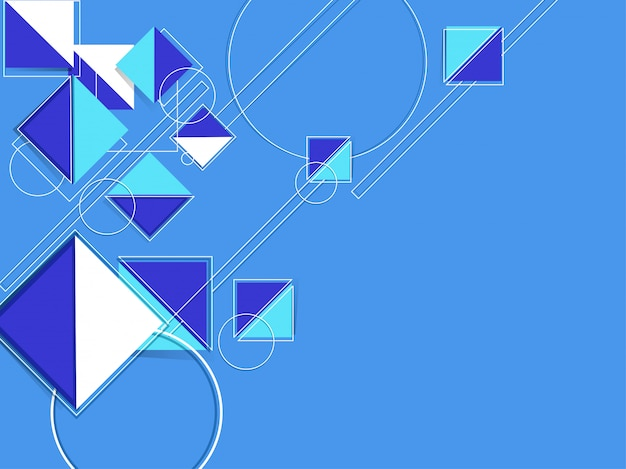 Forma geométrica creativa como patrones abstractos cuadrados y circulares sobre fondo azul.