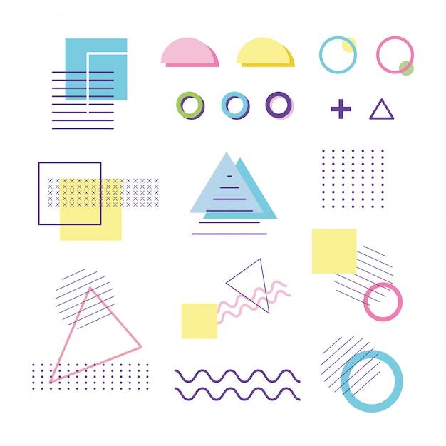 Forma geométrica de elementos memphis 80s 90s estilo abstracto