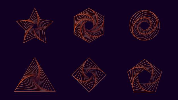 Forma geométrica con línea en color orage. ideal para la colección de objetos de diseño.
