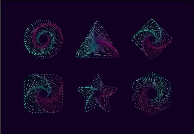Forma geométrica con partículas de punto ideal para la colección de objetos de diseño.