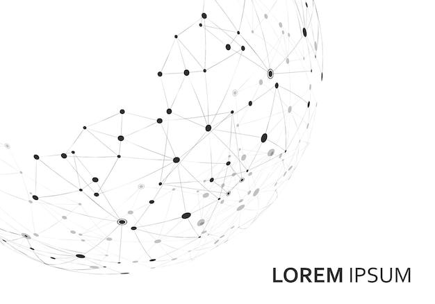 Forma geométrica poligonal abstracta con estilo de estructura de conexión.