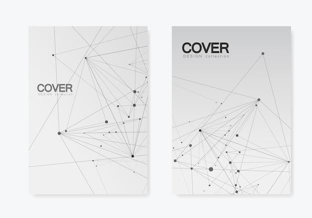 Forma geométrica poligonal abstracta con estilo de estructura de molécula. folleto de cobertura de líneas y puntos